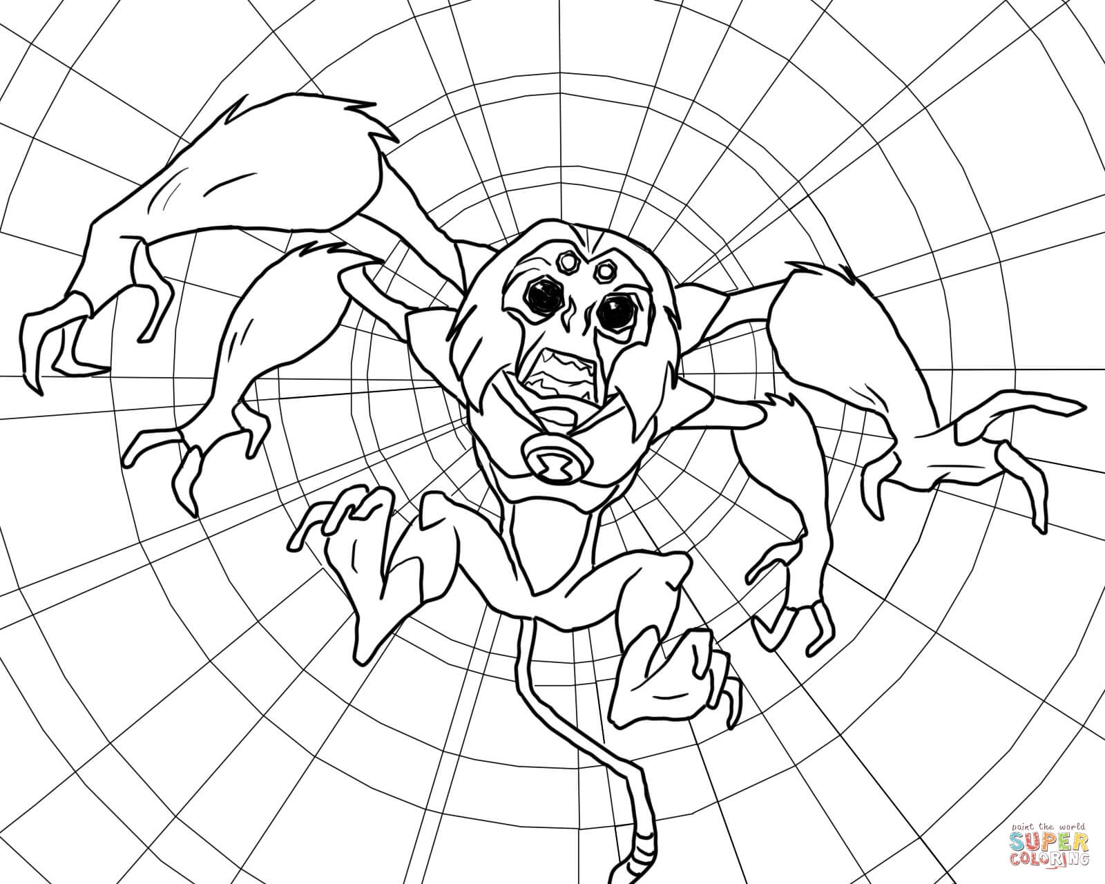 1600x1280 Ben Ten Spider Monkey Coloring Page