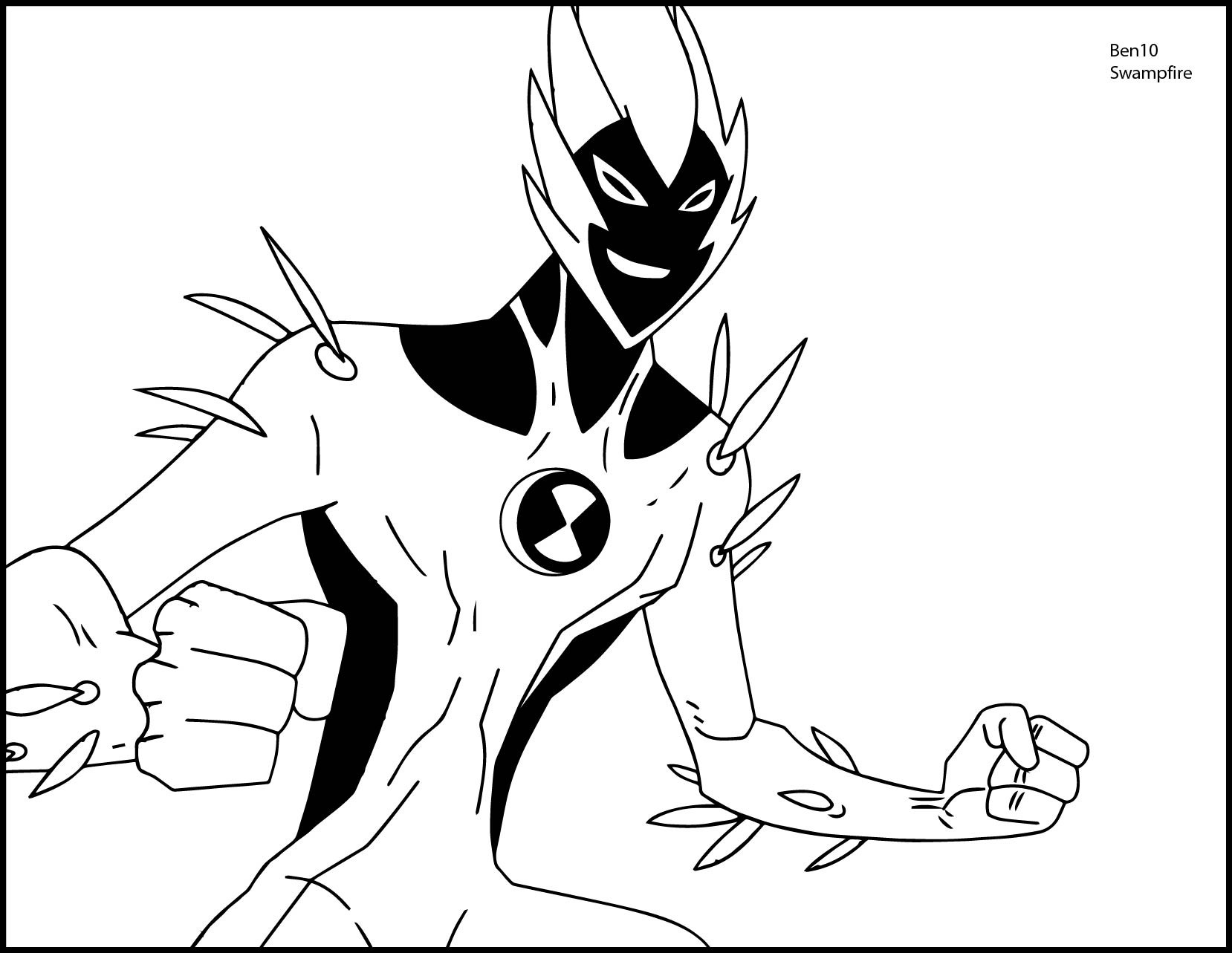 1658x1283 Coloring Pages Of Ben Beautiful Ben 10 Alien Force Swampfire We