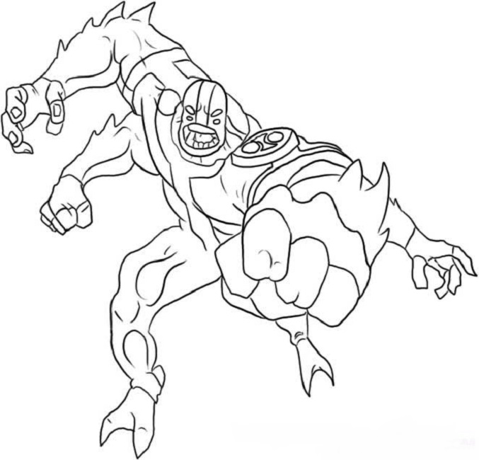 677x650 Ben 10 Coloring Pages Four Arms Cartoon Ben 10