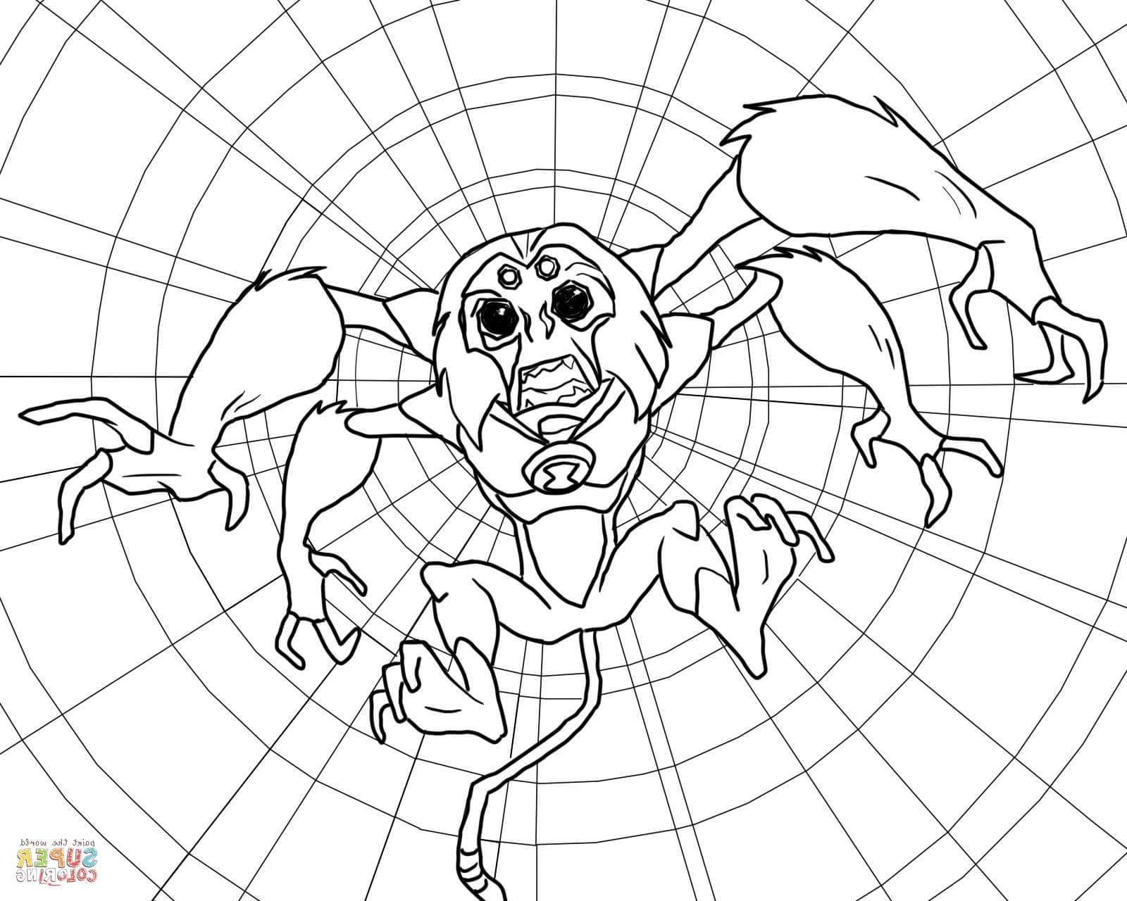 Ben 10 drawing step by step at free for for Spider monkey coloring page
