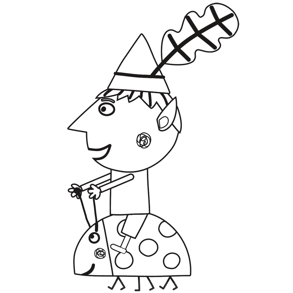 1024x1024 Ben Coloring Page From Ben And Holly's Little Kingdom