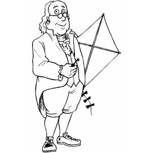 300x300 Benjamin Franklin With Kite Coloring Page