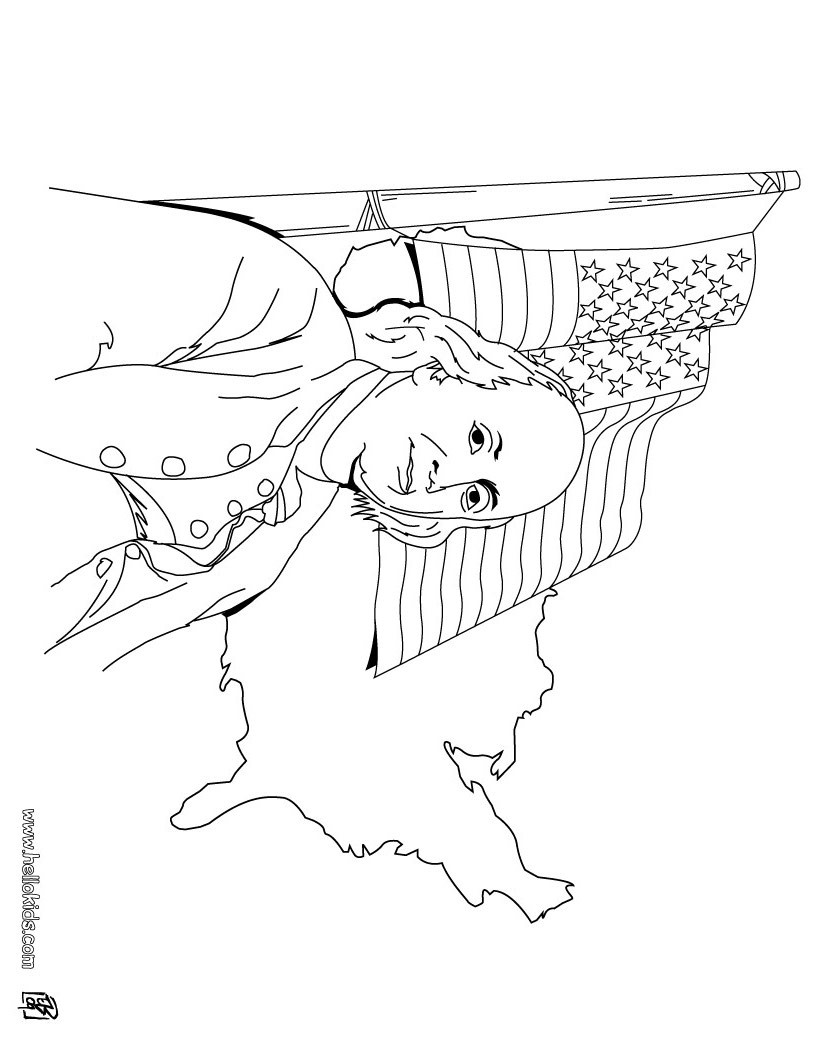 820x1060 Benjamin Franklin And Us Flag Coloring Pages