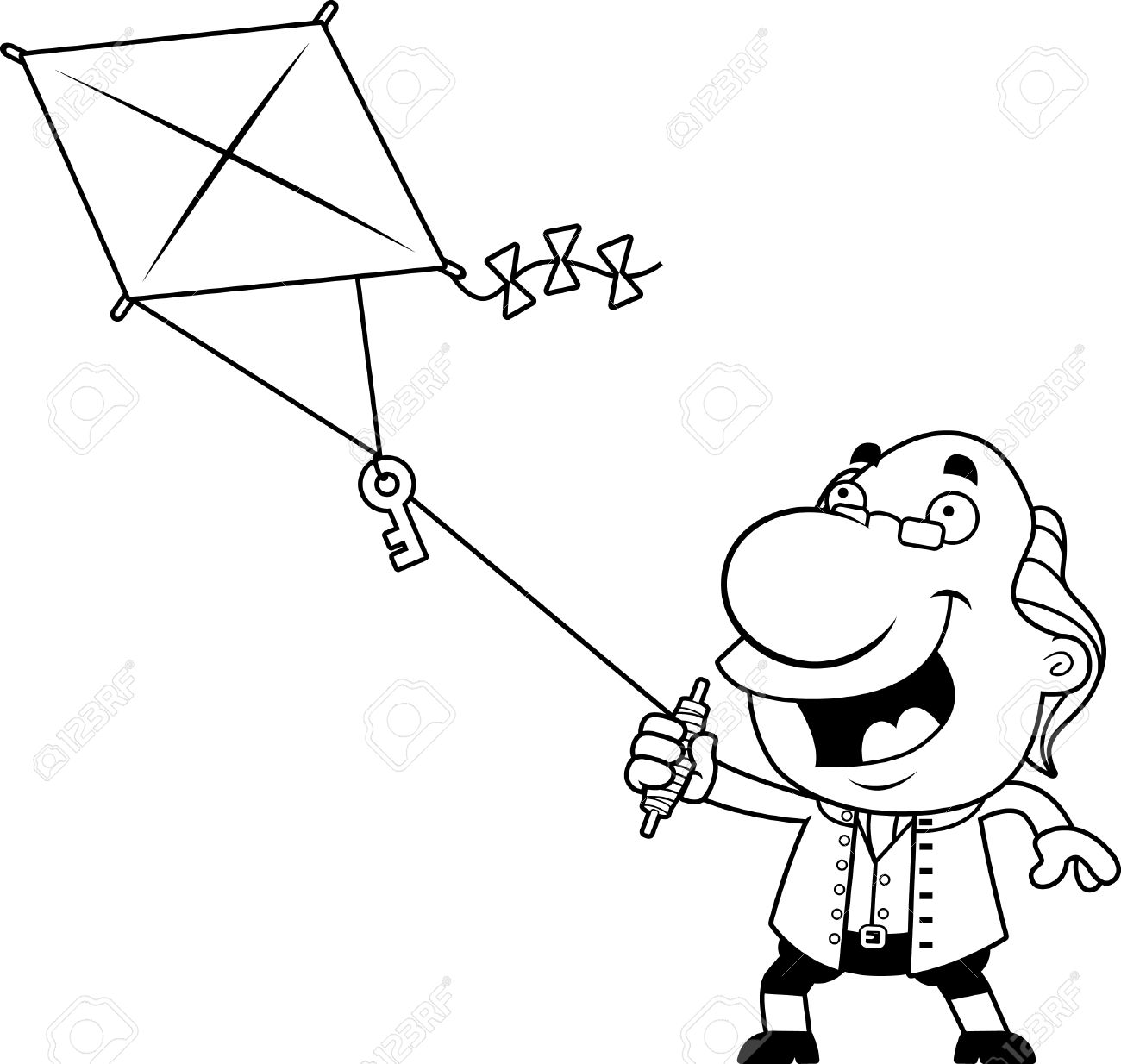 1300x1234 An Illustration Of A Cartoon Ben Franklin Flying A Kite