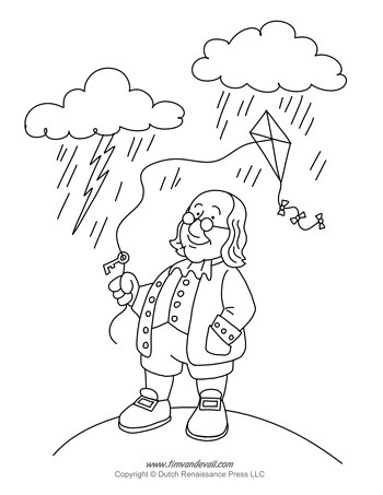 350x453 Ben Franklin Coloring Page