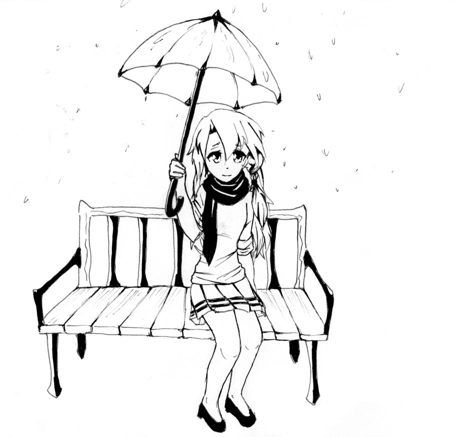 914x874 Manga Girl Bench In Rain By Alkalightning
