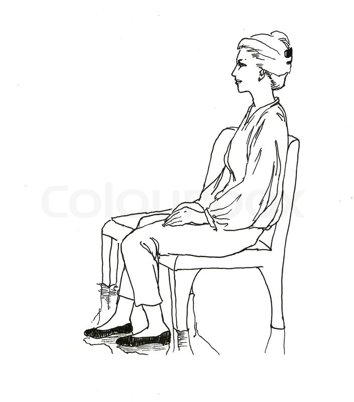 705x800 Sitting On The Bench Woman Line Art Drawing Stock Photo Colourbox