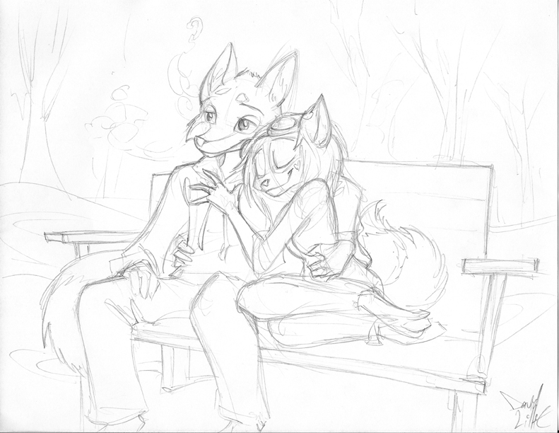 791x612 Winter Bench Couple Sketch By Dreamkeepers