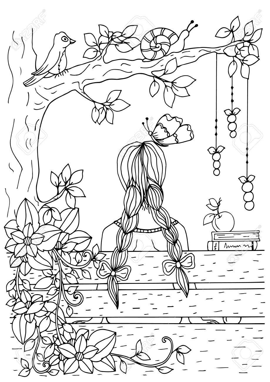 919x1300 Zentangle Girl Sitting On The Bench. Doodle Drawing. Coloring