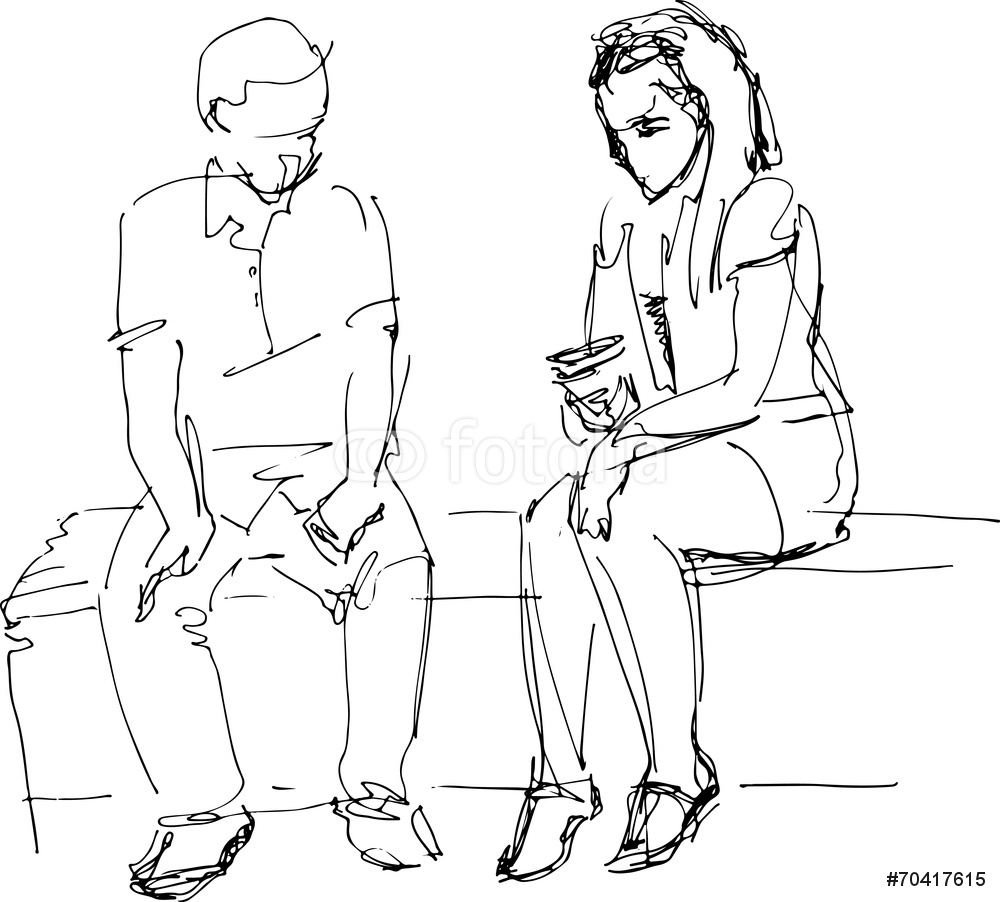 1000x902 Black And Sketch Of Man And Woman On A Bench Wall Sticker Wall