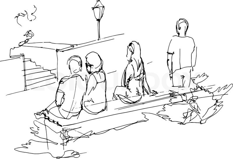 800x548 Black And White Sketch Of A Group Of People Relaxing On A Park