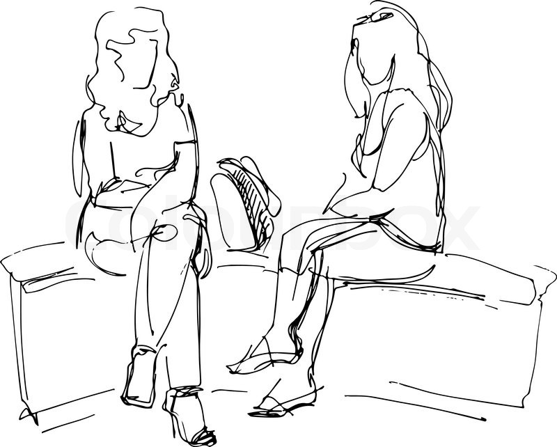 800x642 Black And White Sketch Of Two Friends Sitting On Bench Stock