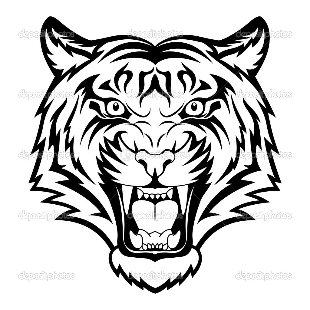 1024x1024 Tiger Side Face Drawings Sketch Of Bengali Tiger Face Tiger Side