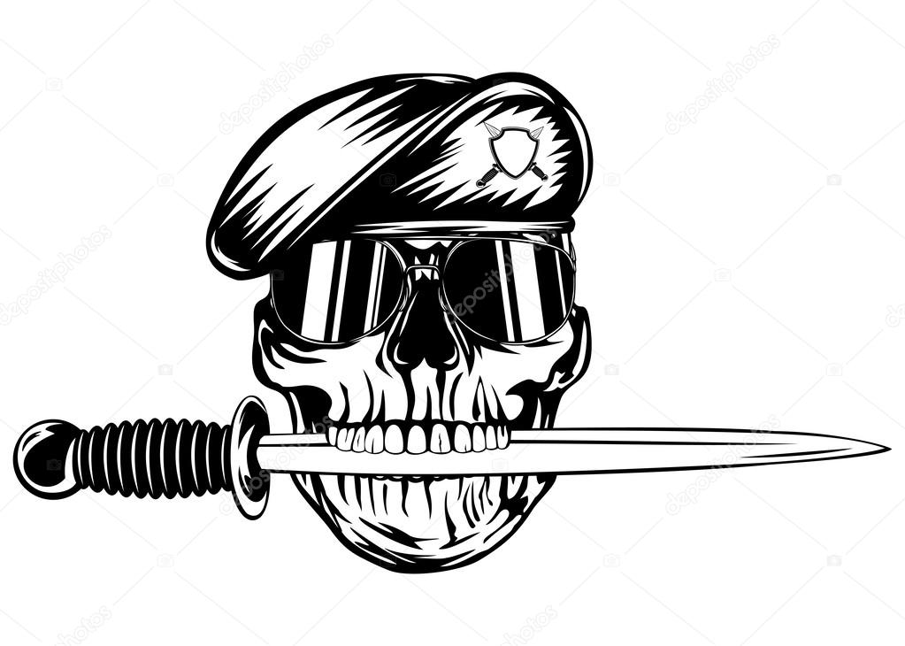 1023x730 Skull In Beret With Dagger Stock Vector Ss1001