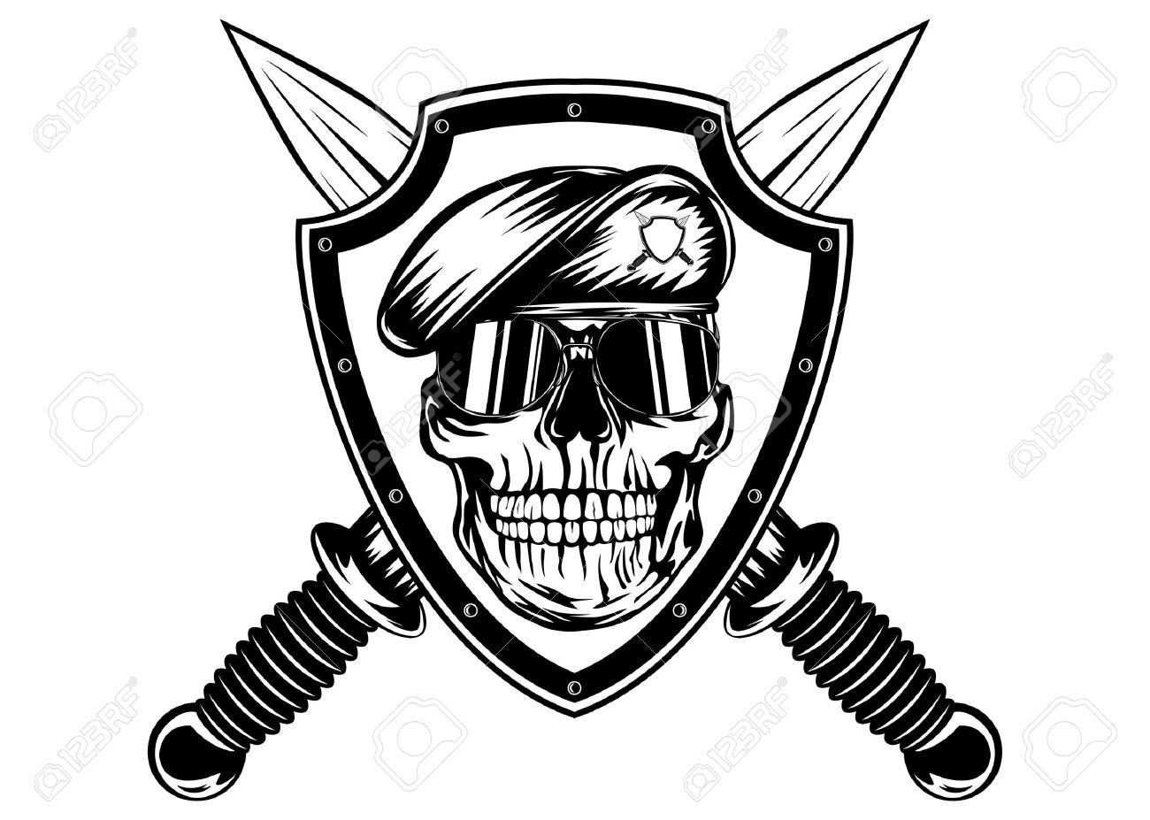1300x927 Vector Illustration Crossed Daggers, Board And Skull In Beret