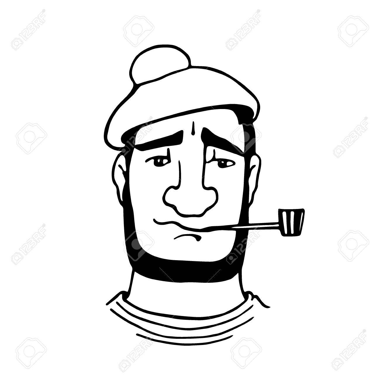 1300x1300 Vector Illustration Of Retro Male Character. A Head Of A Seaman