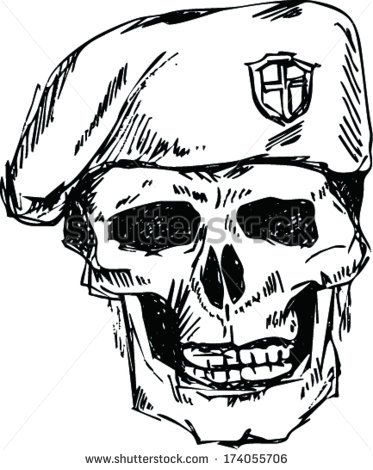 373x470 Soldier Skull In Beret With Doodle Style Soldados