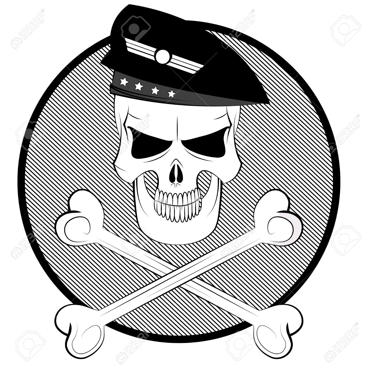 1300x1300 Black And White Cartoon Commando Skull In Beret With Crossbones