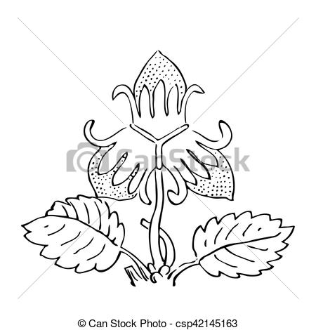 450x470 Hand Drawn Strawberry Bush With Berries, Contour Vector Clip