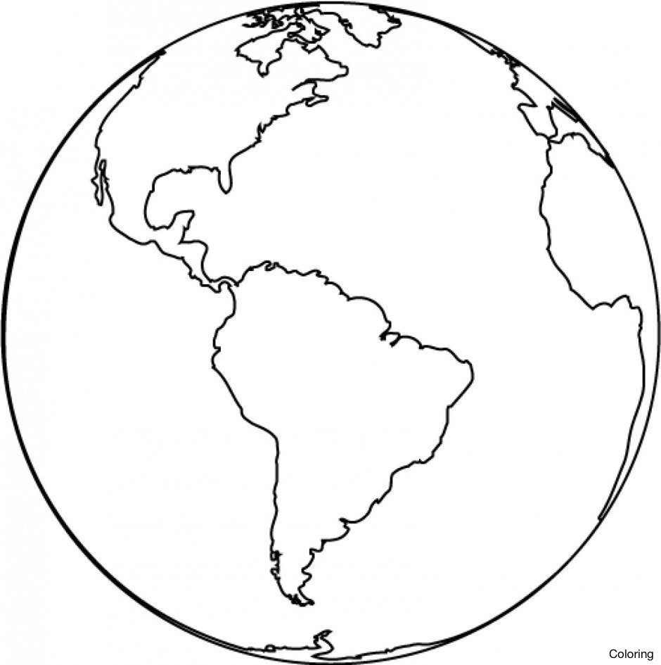 940x945 Clip Art Globe Coloring Page Breadedcat Free Printable Best