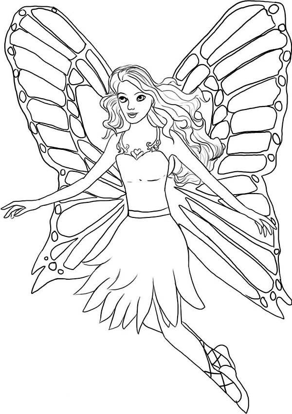 600x851 How To Draw A Fairy In Barbie Fairytopia World Coloring Pages