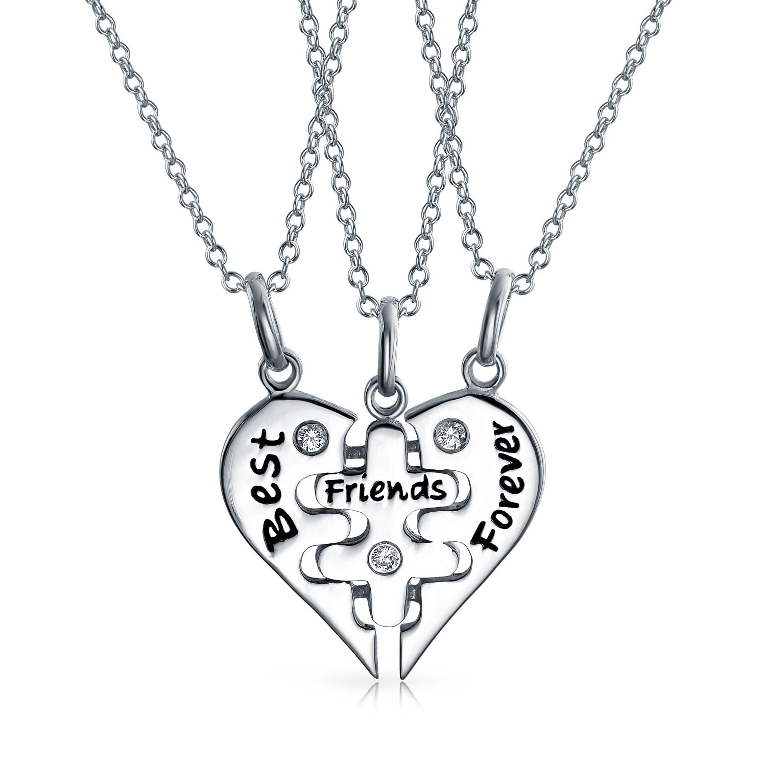 1500x1500 925 Sterling Silver Best Friends Forever Puzzle Necklace Set 16in
