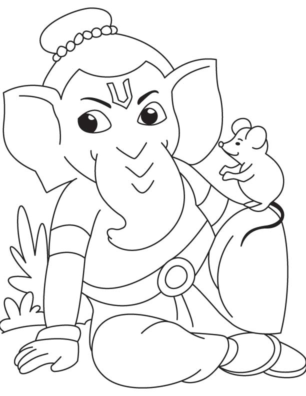 612x792 Lord Ganesha With Mouse Coloring Page Download Free Lord Ganesha
