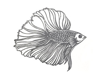 340x270 Large Rubber Stamp Vintage Fish Stamp Fish Rubber Stamp