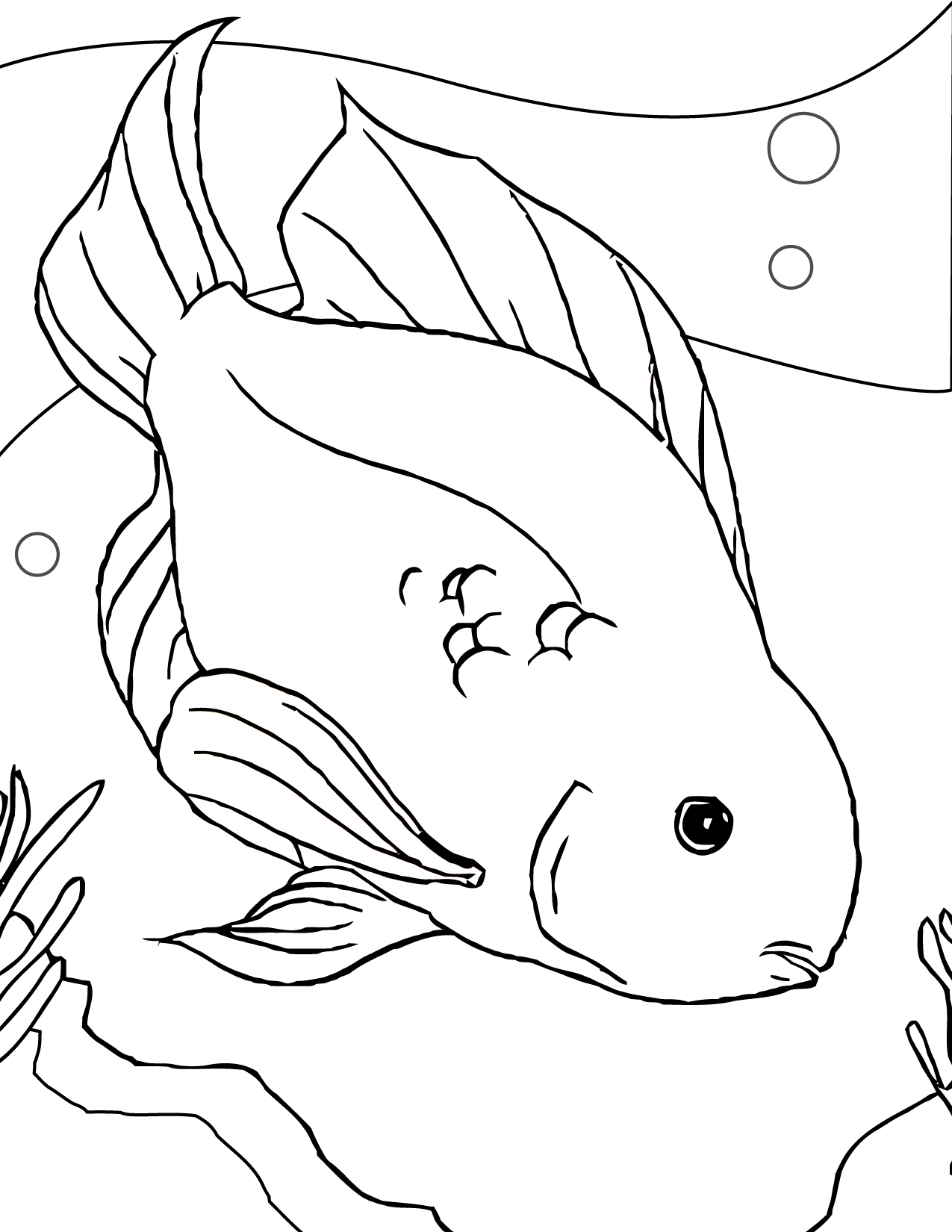 1275x1650 Betta Fish Coloring Page