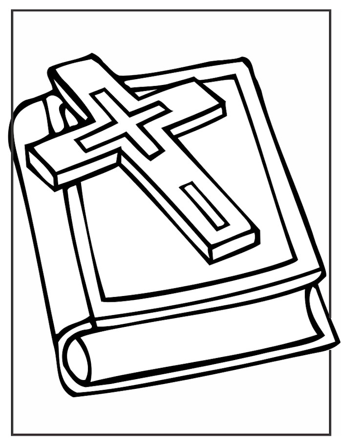 700x913 Cross And Bible Coloring Page