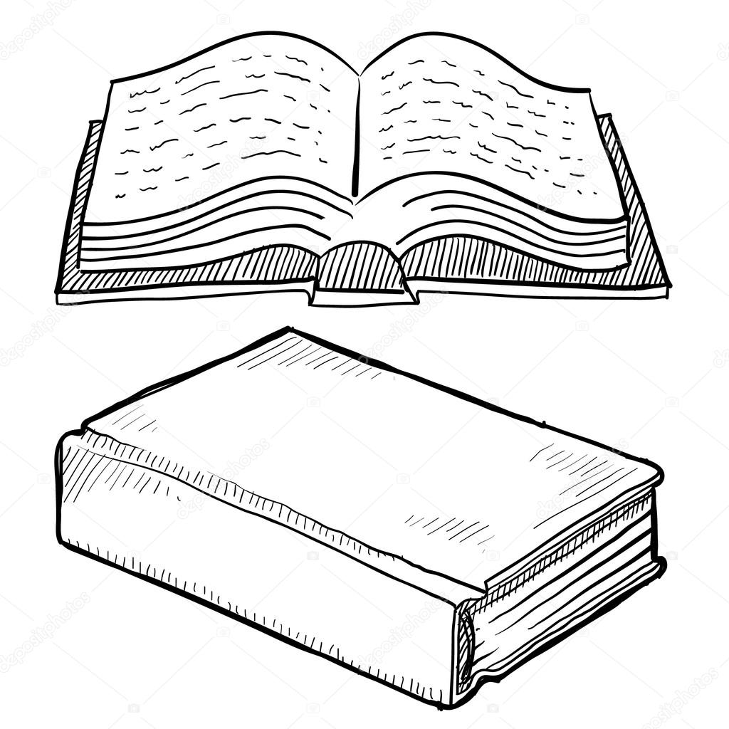 1024x1024 Library Book Or Bible Sketch Stock Vector Lhfgraphics