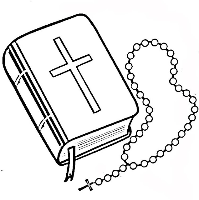 636x640 Bible And Rosary Coloring Page. Para Colorir Bible