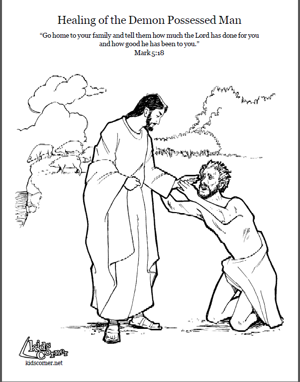 603x769 Jesus And The Demon Possessed Man Coloring Page Script Bible