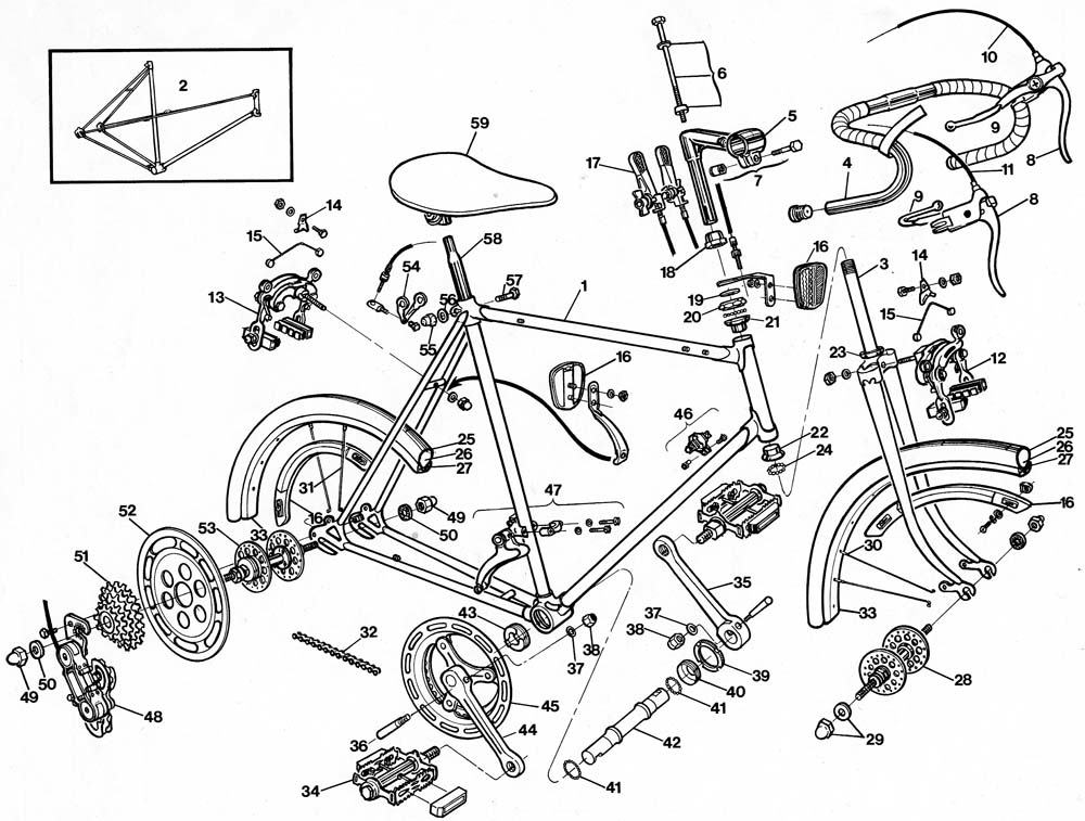 1000x757 Raleigh Record Bicycle Exploded Drawing From 1977 Raleigh Dealer