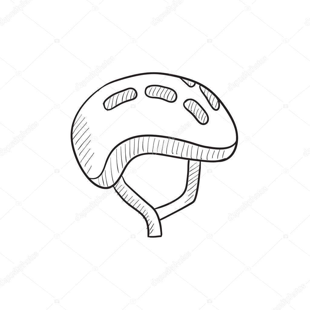 1024x1024 Bicycle Helmet Sketch Icon. Stock Vector Rastudio