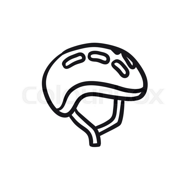 800x800 Bicycle Helmet Vector Sketch Icon Isolated On Background. Hand