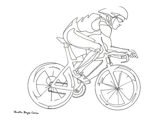 570x415 Cyclist, Drawing Of A Man Riding A Bicycle Bike Drawing