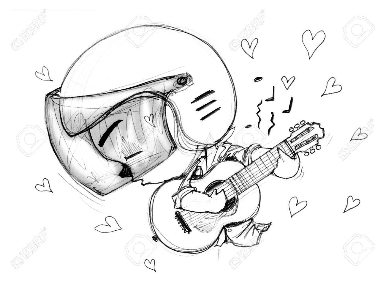 1300x969 Playing Guitar Love Song Acting Character Design Bike Man Cartoon