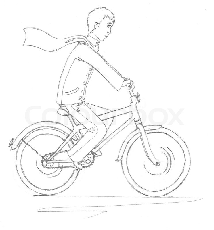 744x800 A Young Man On A Bicycle Stock Photo Colourbox