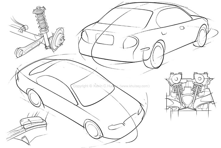 728x488 Automotive Line Drawings