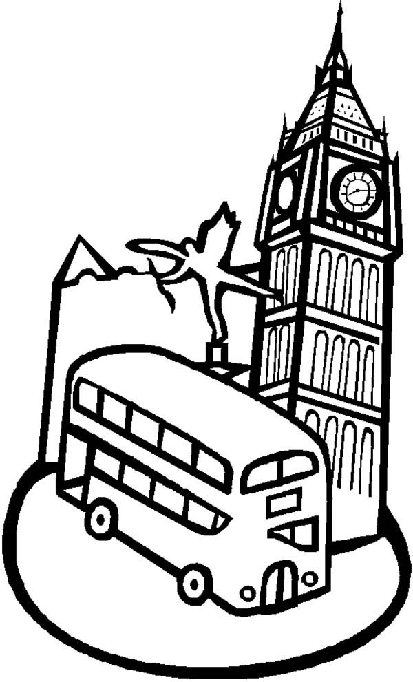600x991 Big Ben And A Double Decker Bus Coloring Page Coloring Sun