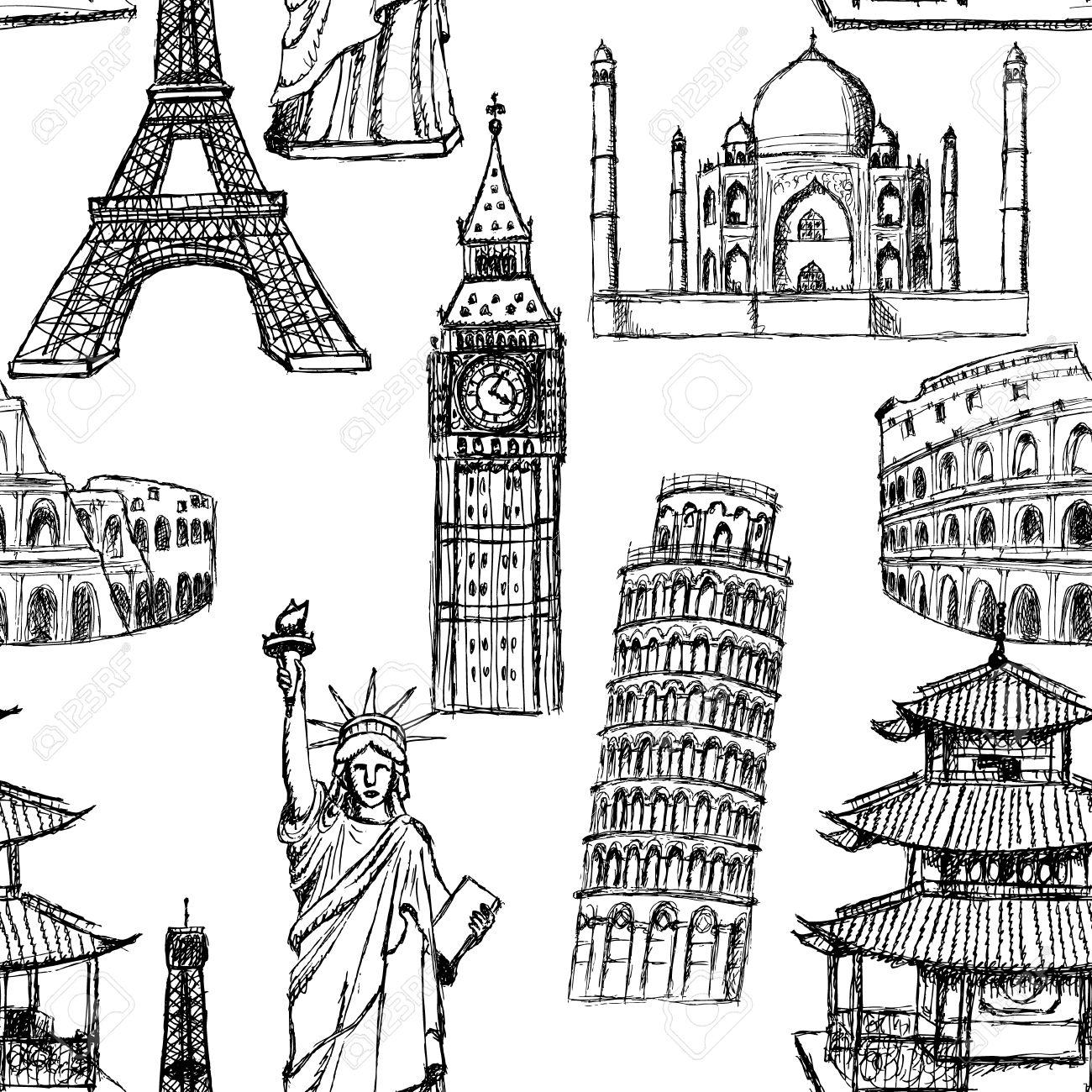 1300x1300 Sketch Eiffel Tower, Pisa Tower, Big Ben, Taj Mahal, Coliseum