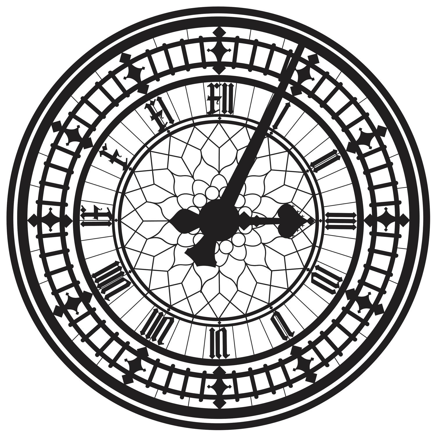 1500x1500 This Is The Big Ben Clock Face, In London. Silhouettes