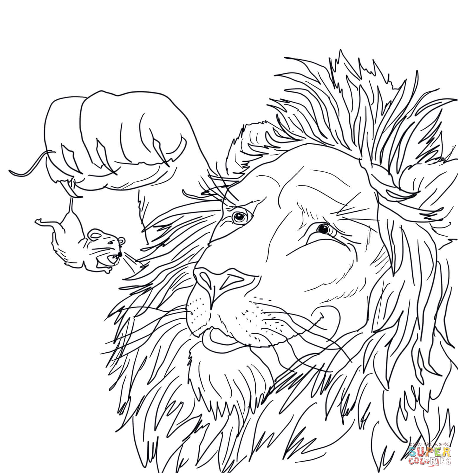 1551x1600 The Big Lion Caught A Tiny Mouse Coloring Page Free Printable