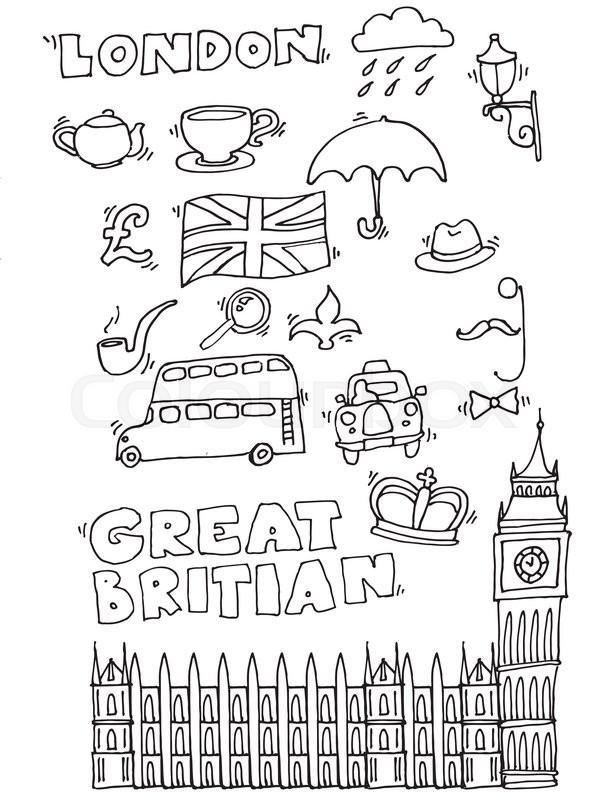 600x800 Vector Hand Drawn London Set With Elements Big Ben Clock, Flag