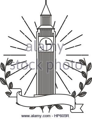 300x385 Big Ben Monument Icon Vector Illustration Design Stock Vector Art