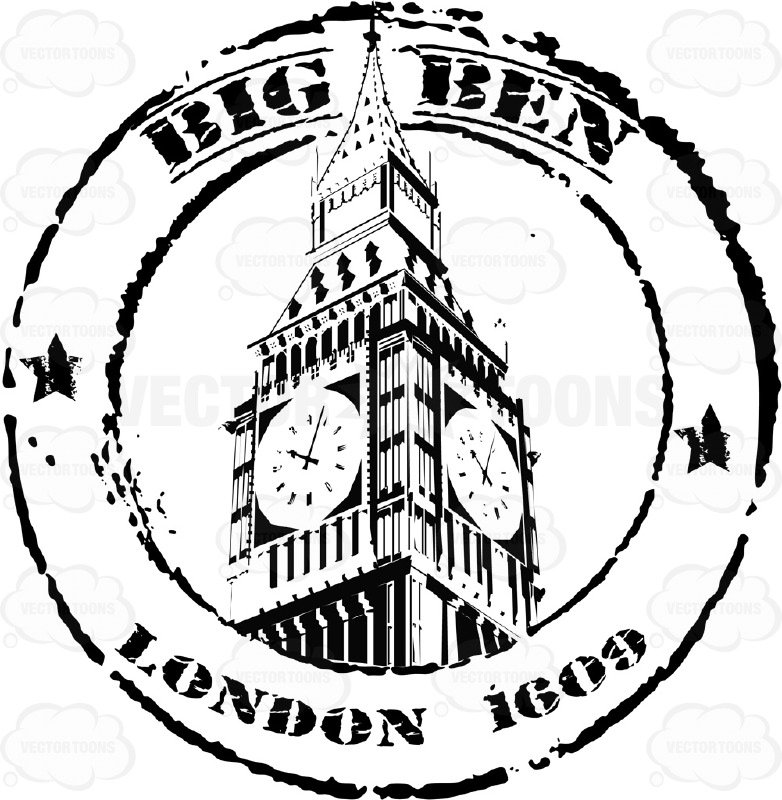 782x800 Big Ben London Black And White Travel Stamp Circle Cartoon Clipart