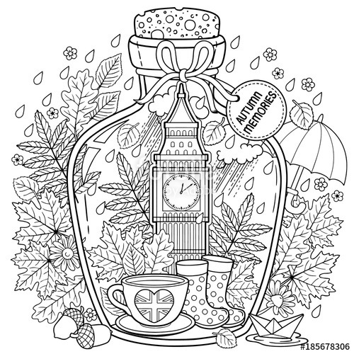 500x500 Coloring Book For Adults. A Glass Vessel With Autumn Memories