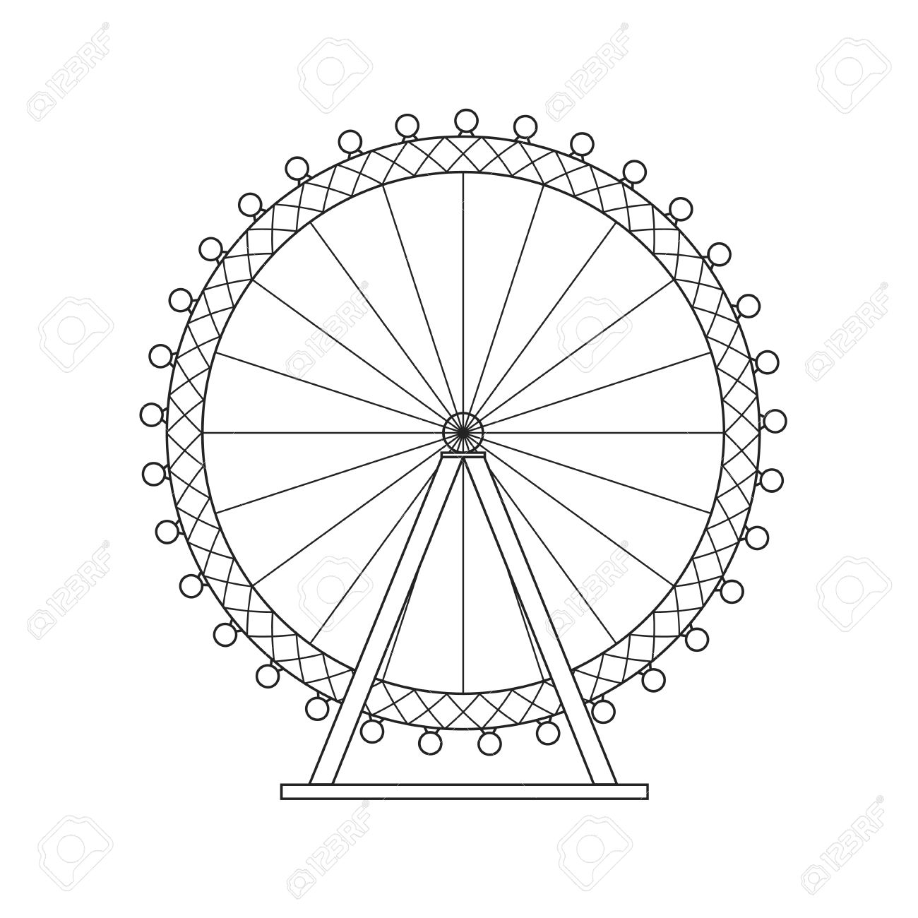 1300x1300 Ferris Wheel London Thin Line Pixel Perfect Art. Material Design