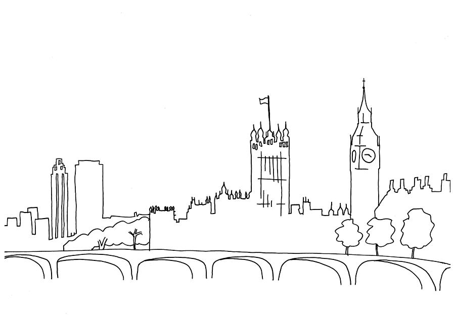 900x636 Hand Drawn Sketch Illustration Of London Landscape Including Big